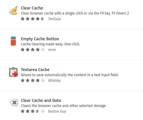 Browser Cache leeren mit Addon